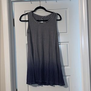 Ombré white to blue striped tank w/ black stripes